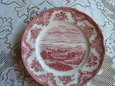my Chatsworth salad plates <3 (red transferware- Johnson bros old britain castles)