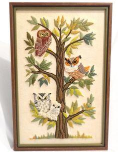"""Vintage Crewel Embroidery Framed Picture / Owls 70s Home Decor /  Original 23"""" x 14"""" Frame /  Vintage Needlework"""