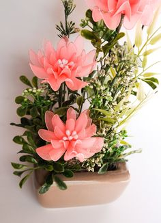 Coral Chrysanthemum Flower Arrangement Nylon Flowers by JJnKo, $45.00