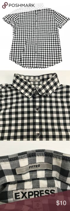 "Express Women's Black/ White Plaid Button Up Sz M In perfect condition.   No stains or holes.  Women's size Medium   Always fast same or next day shipping  Measurements: Pit to pit: 21""  Length: 27""  Sleeve: 16""  Please feel free to leave me any of your comments and questions!   Thanks for stopping by! Express Tops Button Down Shirts"