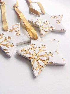 Craft ideas for DIY gifts for Christmas, Christmas decorations made of clay . - Craft ideas for DIY gifts for Christmas, Christmas decorations made of clay … ideas - Diy Gifts For Christmas, Clay Christmas Decorations, Christmas Clay, Christmas Makes, Diy Christmas Ornaments, Ornaments Ideas, Snowflake Ornaments, Christmas Snowflakes, Homemade Christmas