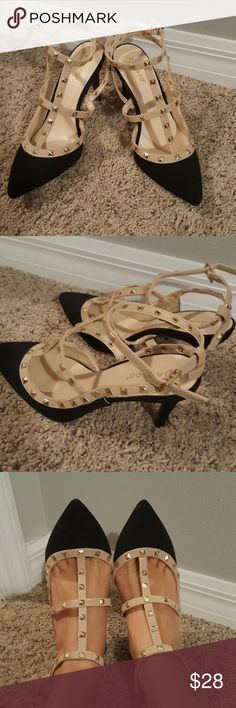 """Black and Tan Heels NWOT Bamboo black and Tan heels with gold studs. 3"""" heels with suede black and Tan leather straps. Never been worn. bamboo Shoes Heels"""