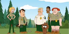 """""""Brickleberry"""" is an animated web series, produced by Comedy Central and comedian Daniel Tosh, chronicling the misadventures of a motley crew of national park forest rangers. Cartoon Park, Comedy Cartoon, Cartoon Tv, Cartoon Characters, Adult Cartoons, Cool Cartoons, Random Cartoons, Comedy Central Tv Shows, Daniel Tosh"""