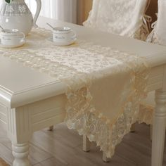 S & V creme lace mesa corredores de renda bordado solúvel em água de pano de luxo