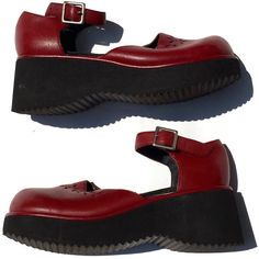 RESERVED 90's Platform Mary Janes ($32) ❤ liked on Polyvore featuring shoes, leather upper shoes, cut out shoes, platform shoes, real leather shoes and mary jane shoes