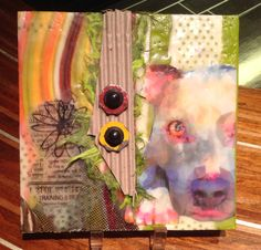 D O G - 6x6 wood panel with encaustic and mixed media