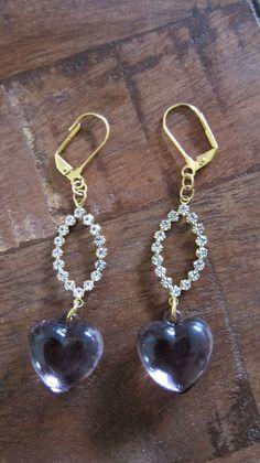 Purple Heart and Rhinestone Earrings by AvignonHandmade on Etsy, $22.00