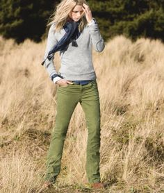 Green cords and gray sweater -- effortless and chic