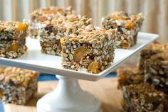 A no-bake Gluten Free Nut Free Cereal Squares recipe that is also nut free, dairy free, and refined sugar free. Packed with delicious, healthy ingredients. Sugar Free Cereal, Gluten Free Cereal, Gluten Free Sweets, Gluten Free Baking, Gluten Free Recipes, Nut Free, Dairy Free, Sugar Free Diet Plan, Sans Gluten