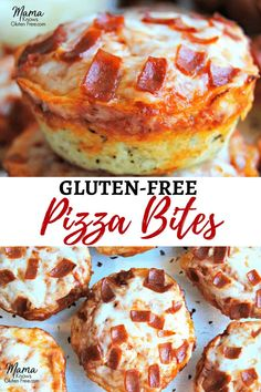 Gluten-free deep dish pizza bites are super easy to make. Perfect for lunch, a q… Gluten-free deep dish pizza bites are super easy to make. Perfect for lunch, a quick and easy dinner, as a snack or an appetizer for game-day or your next party. Pizza Sans Gluten, Gluten Free Pizza, Gluten Free Cooking, Gluten Free List, Gluten Free Muffins, Gluten Free Bisquick Recipe, Eating Gluten Free, Gluten Free Chex Mix, Gluten Free Garlic Bread