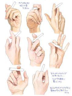 """트위터의 그림쟁이자료모음 님: """"담배들고 있는 손모양 자료입니다~ 출처 : https://t.co/VyCEESEvcf…"""