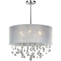 "Glow Lighting Danube Crystal and White Shade 21"" Wide Pendant... ($779) ❤ liked on Polyvore featuring home, lighting, ceiling lights, chandeliers, crystal ceiling lights, crystal ceiling lamp, white shade chandelier, crystal light and crystal chandelier lighting"