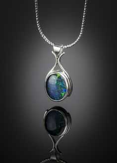 Opal triplet and sterling silver pendant, by Jenny Ogborn