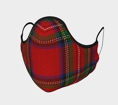 Royal Stewart Tartan Non-Medical Face Covering | Etsy Poppy Pins, Royal Stewart Tartan, Up Shoes, Cool Socks, Navy Color, Face Shapes, Printed Cotton, Soft Fabrics, Medical