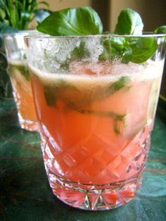 Rhubarb Basil Cocktail