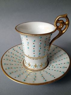 19 TH Century Jeweled German Cup and Saucer Marked