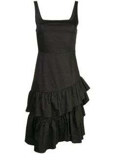 Black cotton eva polished ruffle dress from Cynthia Rowley featuring a square neck, a sleeveless design, a fitted silhouette and a ruffled design. Cynthia Rowley, Black Midi Dress, Ruffle Dress, Neue Trends, World Of Fashion, Black Cotton, Outfit, Women Wear, Clothes For Women