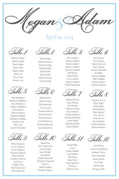 Love this seating chart that features light blue and #rookscript #calligraphy.  Easy to do at the last minute for your wedding reception and only $50.