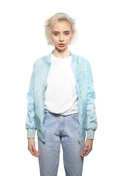 Monochromatic Bomber Jacket in Baby Blue