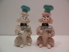 "Vintage ""Spaghetti"" Poodle Dog Salt Pepper Shakers"