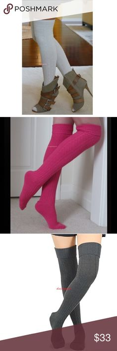 Cable Knit Over The Knee Sock Tall Boot Thigh High Long soft cable knit over the knee socks. One pair new never worn, choose from ivory, black, hot pink, off white, brown, red or gray. Cute cozy boot socks, I'm sure you will love them. These are long enough to wear thigh high for most or over the knee with a nice cuff. Push them down below your knees and rock them as scrunchy knee highs. Surely to keep your tootsies warm, normal too thick socks thickness, not like cheap thin so called over…