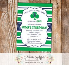 Shamrock Lucky Charm St Patricks Day Birthday Party Invitation Stripes and Polka Dots - choose your two colors - any age - Shamrock invite by NotableAffairs