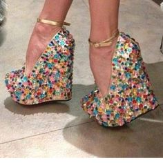 High-heeled shoes for party - sexy glitter shoes 2013 Cute Shoes, Me Too Shoes, Funky Shoes, Fab Shoes, Wedge Heels, High Heels, Colorful Wedges, Shoe Boots, Shoes Heels