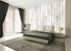 Contemporary White Wood Wall Mural by 1Wall