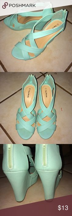 Mint top moda wedges Good condition. Comfortable! Cute! Size 10. Minor blemishes as seen in pic. Used 3 times. top moda Shoes Wedges