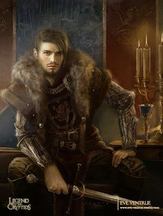 Male Fantasy Warrior, Iron gloves, fur, leather. Medieval. by Eve Ventrue.