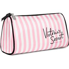 Victoria's Secret VS Stripe Large Makeup Bag ($20) ❤ liked on Polyvore featuring beauty products, beauty accessories, bags & cases, bags, accessories, makeup, beauty, cosmetics, make up purse and dop kit