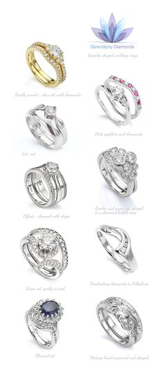 Explore a variety of custom made shaped wedding rings from Serendipity Diamonds. Each ring design was crafted specially to order working around the intricate curves of an engagement ring. Read more on online at Serendipity Diamonds.