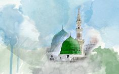 Mosque of the Prophet (Drawing) - Al-Masjid an-Nabawi (The Prophet's Mosque) in Madinah, Saudi Arabia | IslamicArtDB.com