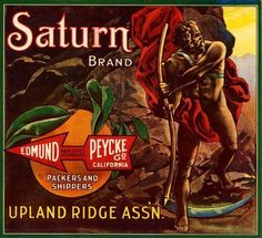 Upland Ridge Saturn Orange Citrus Crate Label Art Print