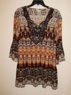 CATHERINE BROWN TIE DYE TUNIC TOP 0X 14/16 BLOUSE BOHO SHIRT CRINKLE PLISSE #Catherines #Tunic #Casual