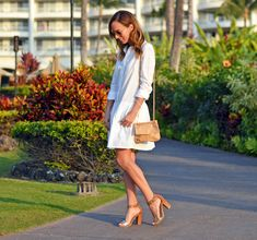 Sydne Style shows how to wear a shirt dress for resort