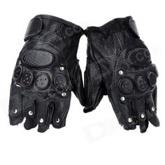 Tactical Series Half-Finger Gloves with Studs - Black (Pair / Size XL) Price: $9.40