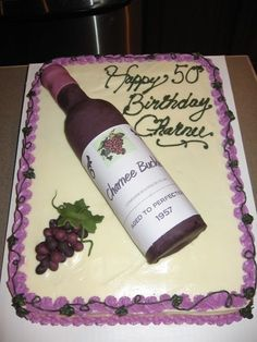 Wine Bottle Birthday Cake - An impressive cake for the wine lover! Read the comments on Cake Central for directions on how to make the wine bottle (she uses fondant). Birthday Cake Wine, 25th Birthday Cakes, Birthday Treats, 80th Birthday, Cupcakes, Cupcake Cakes, Decorating Supplies, Cake Decorating, Bolo Laura