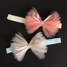 Princess HeadbandBaby HeadbandRuffle Headbandbaby by ChloeStudio - Soft Elastic Head Bands - Tulle Hair Bows, Diy Hair Bows, Diy Bow, Tulle Headband, Bow Baby Shower, Baby Shower Gifts, Elastic Headbands, Headbands For Girls, Diy Baby Headbands