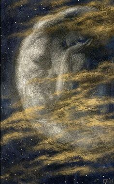 "Edward Robert Hughes (1851-1914), ""The Weary Moon"" 