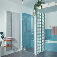 Using colored and frosted glass blocks can add a unique style and freshness to your design. At Innovate Building Solutions, we offer 104 standard and frosted colors for any window, wall or shower project. Bathroom Glass Wall, Cleveland Ohio, Glass Blocks, Frosted Glass, Your Design, Innovation, Bathrooms, Tile, Fantasy