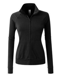 LE3NO PREMIUM Womens Lightweight Long Sleeve Active Cadet Collar Jacket