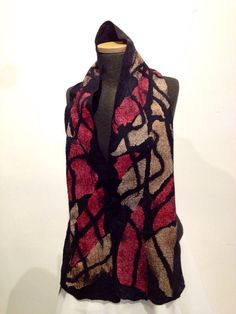 Nuno Felted  Mosaic scarf silk wool red salmon and  black merino wool /// Atelier Iona Loyola