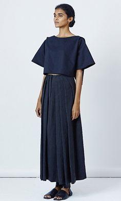 Lovebirds Pleated linen blend maxi skirt