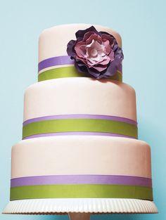 simple cake - purple and green grosgrain ribbons w/ purple flower