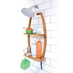 Hang the Spa Sensations Bamboo Shower Caddy over your standard shower head to add more storage while you wash up. The caddy, made of bamboo and steel, features 2 shelves for holding toiletries plus 2 cutouts for hanging razors or a bath brush. Bamboo Bathroom, Bathroom Spa, Bathroom Fixtures, Bathroom Ideas, Bathroom Styling, Small Bathroom, Hanging Shower Caddy, Bathtub Accessories, Bath Brushes