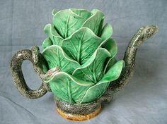 Mafra Majolica Palissy Snake & Cabbage Teapot & Cover ~ Circa 1890, Portugal
