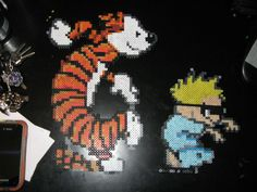 Perler Calvin and Hobbes Dancing by rushtalion.deviantart.com on @deviantART
