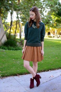 グリーンチェック柄×キャメルプリーツスカート