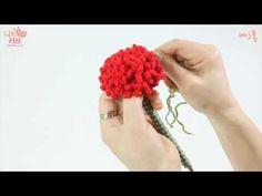 뜨개질 손뜨개 나눔08. 카네이션 만들기(코바늘뜨기) in 작은공방 - YouTube